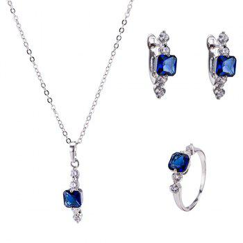 Artificial Sapphire Necklace Ring and Earrings