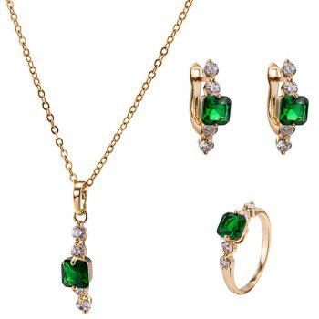 Faux Emerald Necklace Ring and Earrings