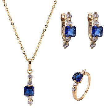 Faux Sapphire Necklace Ring and Earrings