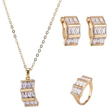 Artificial Gem Necklace Ring and Earrings