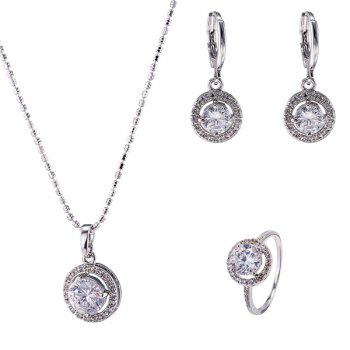 Rhinestone Circle Necklace Ring and Earrings