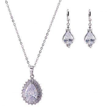 Embellished Water Drop Necklace and Earrings