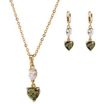 Rhinestone Heart Necklace with Earrings