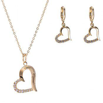 Rhinestone Heart Shaped Necklace with Earrings