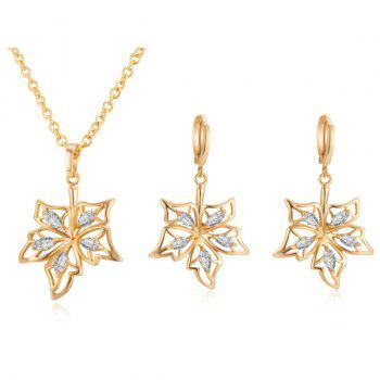 Rhinestone Leaf Necklace with Earrings