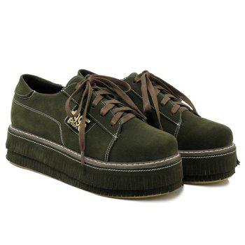 Figure Pattern PU Leather Platform Shoes - ARMY GREEN ARMY GREEN
