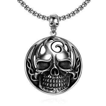 Vintage Adorn Circle Devil Skull Necklace