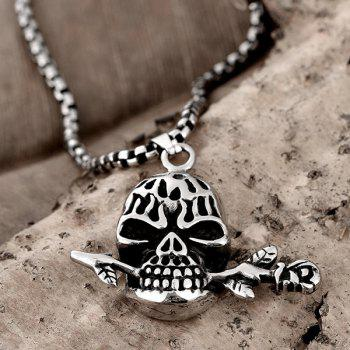 Vintage Devil Skull Rose Necklace - SILVER