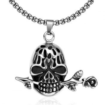 Vintage Devil Skull Rose Necklace