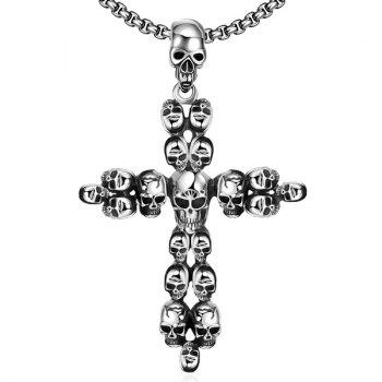 Vintage Adorn Crucifix Skulls Necklace