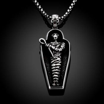 Vintage Adorn Devil Coffin Skull Necklace - SILVER