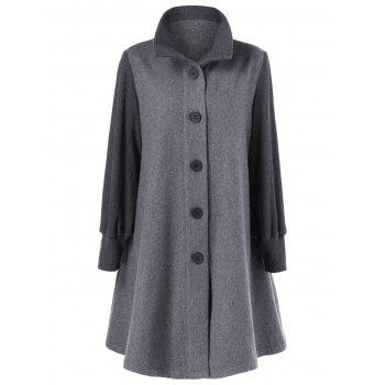 Button Up A-Line Woolen Coat