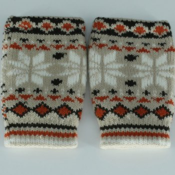 Snow Christmas Knitted Fingerless Gloves - GRAY