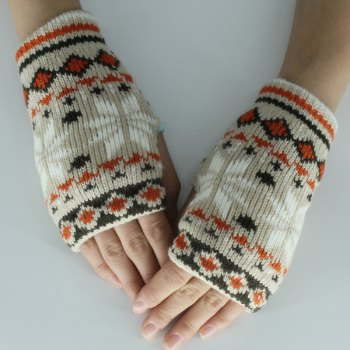 Snow Christmas Knitted Fingerless Gloves