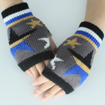 Knitted Star Fingerless Gloves - DEEP GRAY DEEP GRAY