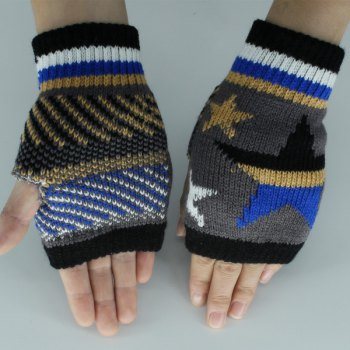 Knitted Star Fingerless Gloves -  DEEP GRAY