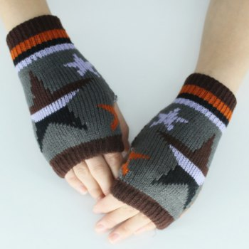 Knitted Star Fingerless Gloves