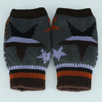 Knitted Star Fingerless Gloves - LIGHT GRAY