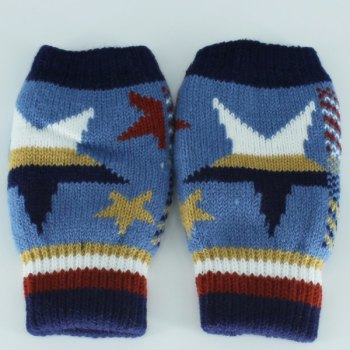 Knitted Star Fingerless Gloves -  BLUE