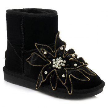 Flower Beaded Ankle Snow Boots