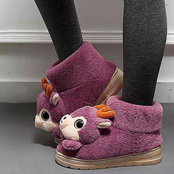 Cartoon Cerf High Top Maison Chaussons - Pourpre SIZE(36-37)