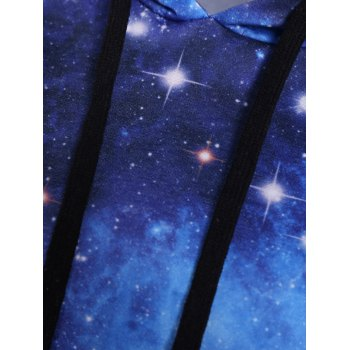 Plus Size Kangaroo Pocket Galaxy Hoodie - COLORMIX 3XL