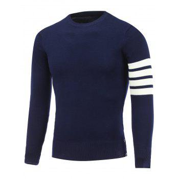 Buy Crew Neck Button Striped Sleeve Pullover Knitwear CADETBLUE