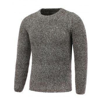Crew Neck Heather Pullover Tweed Sweater