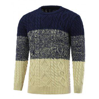 Crew Neck Color Block Cable Knitted Pullover Sweater