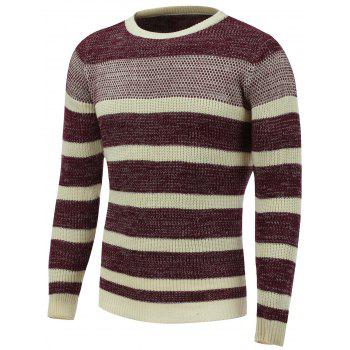 Color Block Striped Crew Neck Sweater