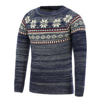 Crew Neck Snowflake Pattern Christmas Sweater