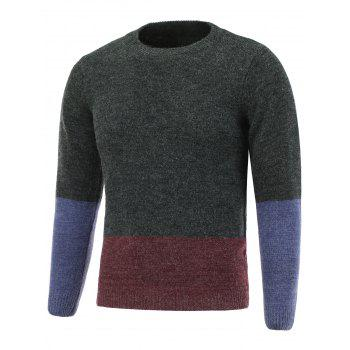 Pullover Crew Neck Color Block Sweater