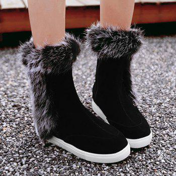Faux Fur Hidden Wedge Mid Calf Boots