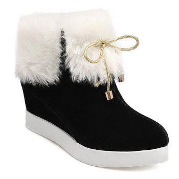 Faux Fur Wedge Heel Ankle Boots