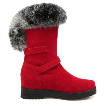 Faux Fur Buckle Straps Mid Calf Boots - RED 39