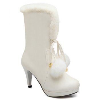 PU Leather Pompon Mid Calf Boots