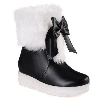 Fuzzy Bowknot PU Leather Platform Boots