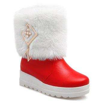 Fuzzy Metal PU Leather Platform Boots