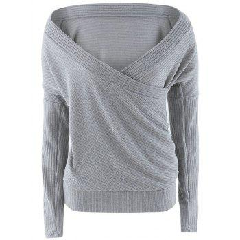 Plunge Neck Surplice Drop Shoulder Sweater