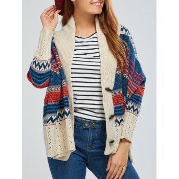 Batwing Sleeve Striped Jacquard Cardigan