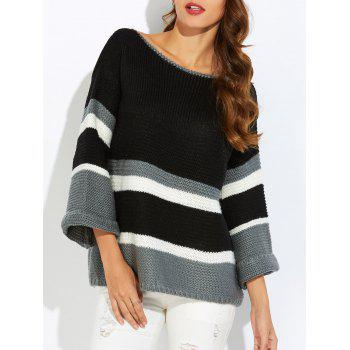 Flare Sleeve Striped Jacquard Sweater