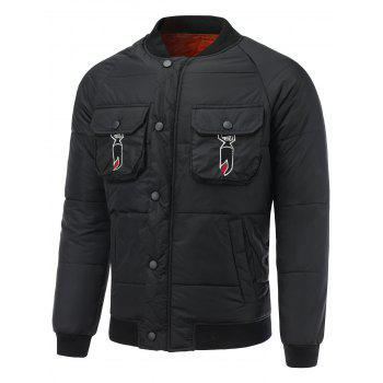 Snap Front Multi Pocket Embroidered Padded Jacket