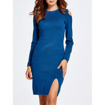 Faux Pearl Embellished Cold Shoulder Jumper Dress