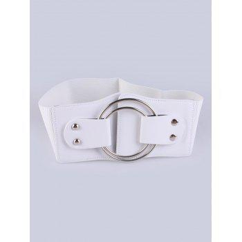 Faux Leather Stretch Belt with Metal Rings