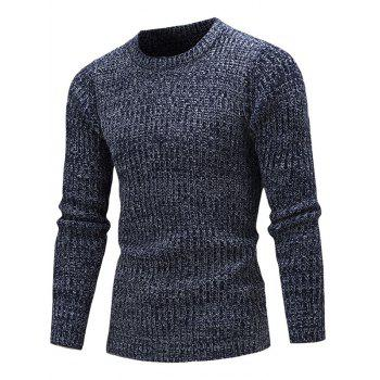 Crew Neck Ribbed Knitted Slim Fit Sweater