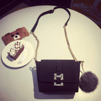 Metal Chain Pompon Crossbody Bag