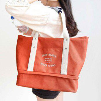 Letter Print Snaps Canvas Shoulder Bag