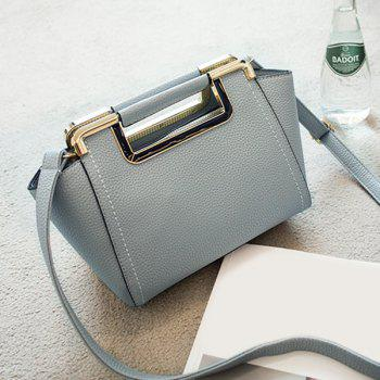 Metal Trimmed PU Leather Handbag