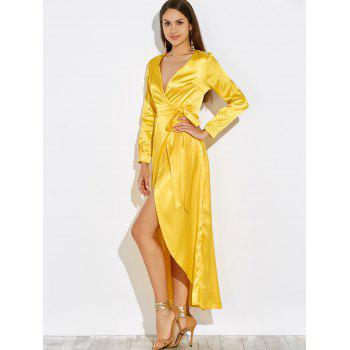 2018 Low Cut Maxi Satin Wrap Evening Prom Dress YELLOW S In Maxi ...