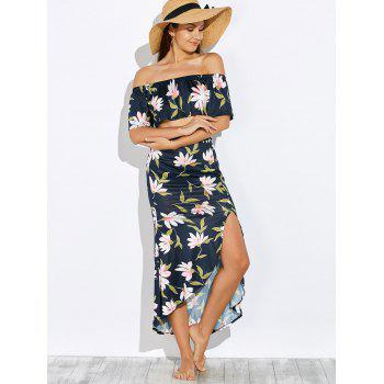 Crop Top and Floral Print Skirt Twinset - PURPLISH BLUE L